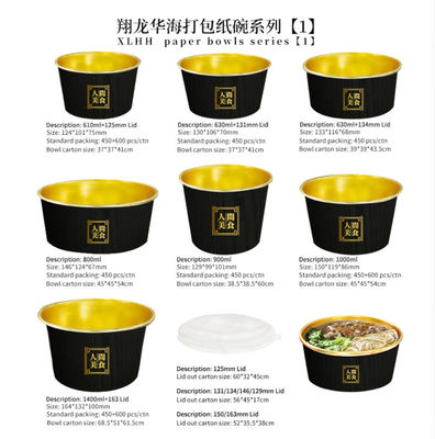 Fast Food Packaging Take Away Food Storage Package Large Size Disposable Paper Fruit Salad Bowl